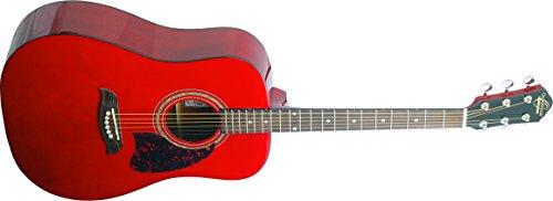 Oscar Schmidt OG2TR-A-U Acoustic Guitar - Trans Red