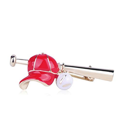 QPODGQ Brosche Baseballschläger Hutform Broschen Rot Emaille Sport Stil Schmuck Für Mädchen Jungen Kleidung Corsage Pins Pullover Clips