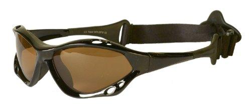 Waveshields Gafas de sol para deportes acuáticos, montura negra, lente ámbar