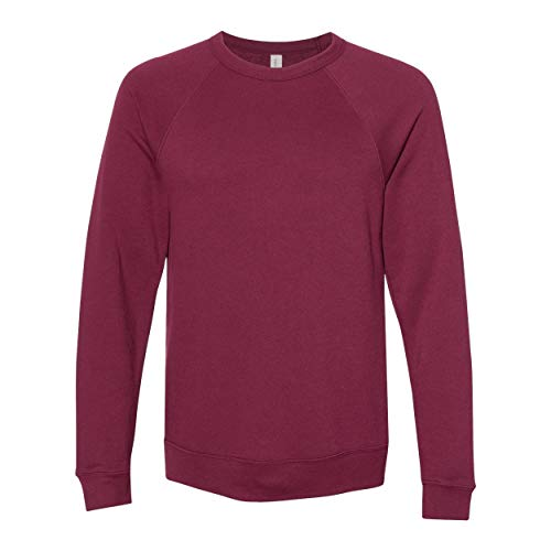 Bella + Canvas Unisex Adult Fleece Raglan Sweatshirt (S) (Maroon)