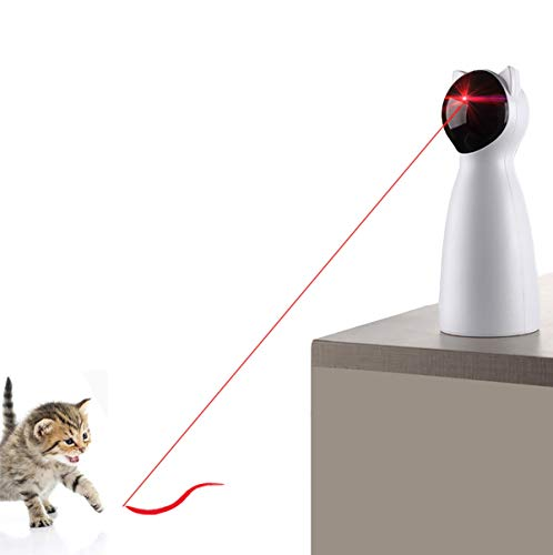 Yvelife Cat Laser Toy Automatic,Interactive Toy for Kitten/Dogs - USB Charging,Placing Hign,5 Random Pattern,Automatic On/Off and Silent (P01), White, Medium