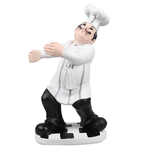 Garneck Küchenchef Figur Europäischen Stil Küchenchef Statue Modell Miniatur Koch Ornament Tisch Schreibtisch Küchenchef Harz Spielzeug für Shop Bäckerei Restaurant (Küchenchef Hält Wein)