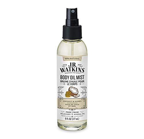 JR Watkins Natural Hydrating Body Oil Mist, Coconut Milk & Honey, Moisturizing Body Oil Spray for Glowing Skin, USA Made and Cruelty Free, 6 fl oz