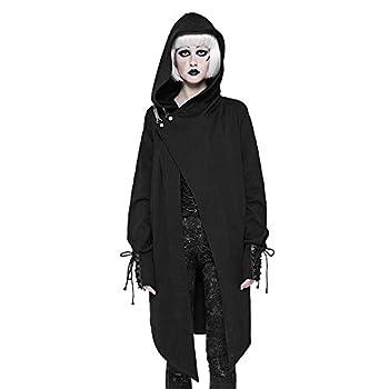 Punk Rave Gothic Black Cotton Fashion Cardigan Witches Sweater Women Coat Jacket Cloak Visual Kei Windbreaker  Black,XS~S