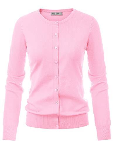 GRACE KARIN Women's Crewneck Button Down Knit Sweater Plus Size(3XL,Pink)