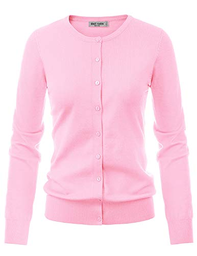 Women's Unique Button Long Sleeve Soft Knit Cardigan Sweater (2XL,Pink)