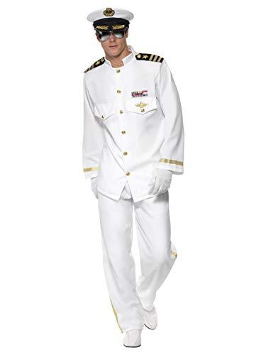 Smiffys Disfraz de capitán Deluxe, Blanco, con Chaqueta, Pantalones, Gorra y Guantes