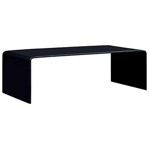 Tidyard Mesa de Centro de Vidrio Templado con Forma Rectangular Negro 98x45x31 cm