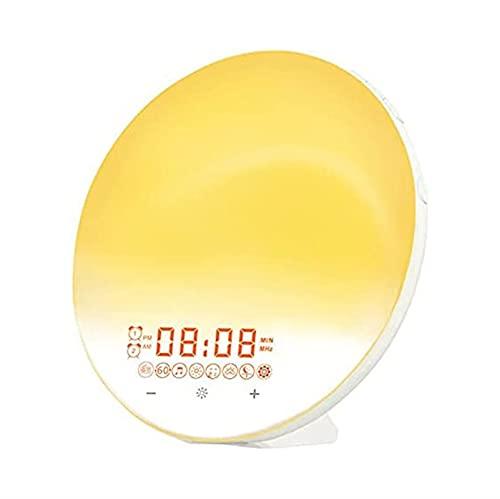 XTZJ Despertar luz, Radio de despertador de amanecer, lámpara de noche con ayuda para dormir, DUAL Alarmas, Snooze, Luces de colores, Sonidos naturales, Regalo fresco para niños Adultos Dormitorio