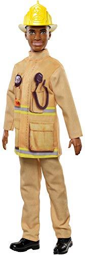 Barbie FXP05 - Berufe Ken Puppe Feuerwehrmann mit schwarzen Haaren, Puppen Spielzeug ab 3 Jahren