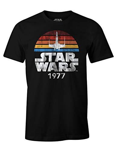 T-Shirt da Uomo Star Wars 1977 Retro Cotone Nera - XXL