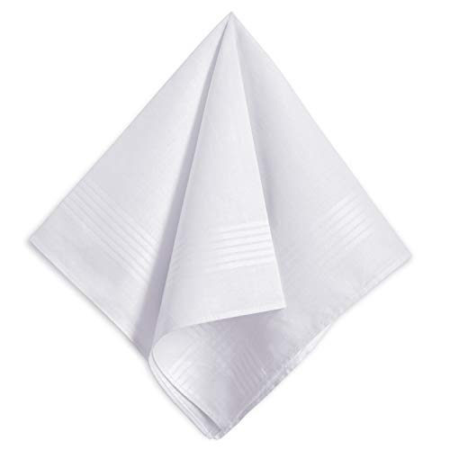 Men's White Handkerchiefs,100% Soft Cotton Hankie,Pack of 6