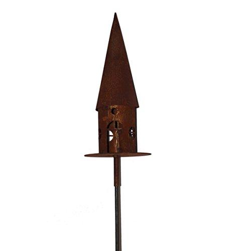 Saremo Metall Vogelhaus in Edelrostoptik rund auf Metallplatte Ø 22cm | 2-teilig inklusive Stab 150 cm