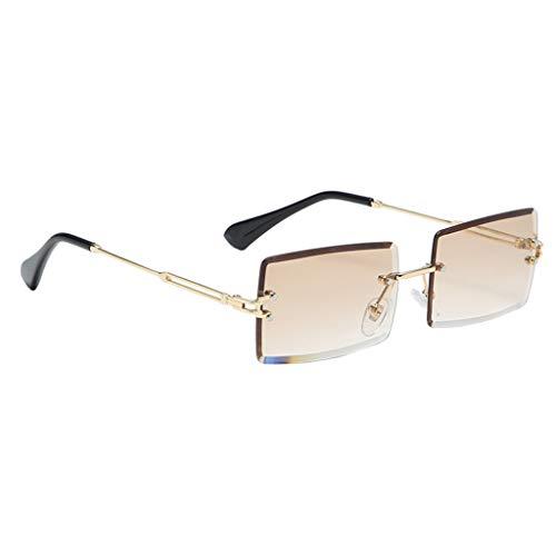 freneci Retro Rechteck Sonnenbrillen für Frauen & Männer, Randlose Sonnenbrille,Gradient Kleine Quadrat Gläser Randlose Getönt Objektiv Brillen UV400 - Braun