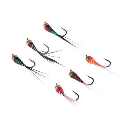 6X Cebos de Mosca de Pesca Señuelos de Cabeza de Talón para Pescar Truchas