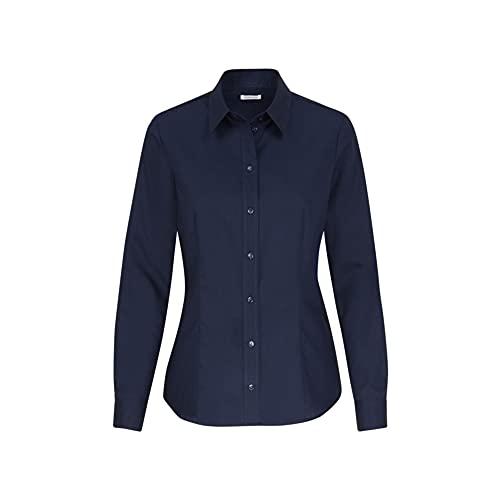 Seidensticker Damen Bügelfreie, taillierte Hemdbluse-Regular Fit-Hemdbluse-Langarm-100% Baumwolle Bluse, Dunkelblau, 44