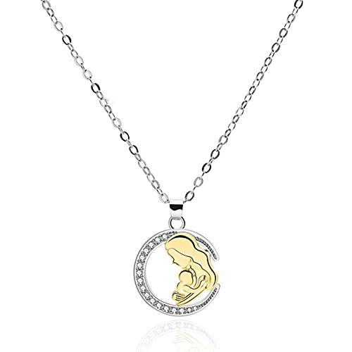 Yunyan Mom's Love - Collar con colgante de mamá abrazado con diseño de niño hueco, redondo, joya con diamantes de imitación, regalo para mujeres y madres