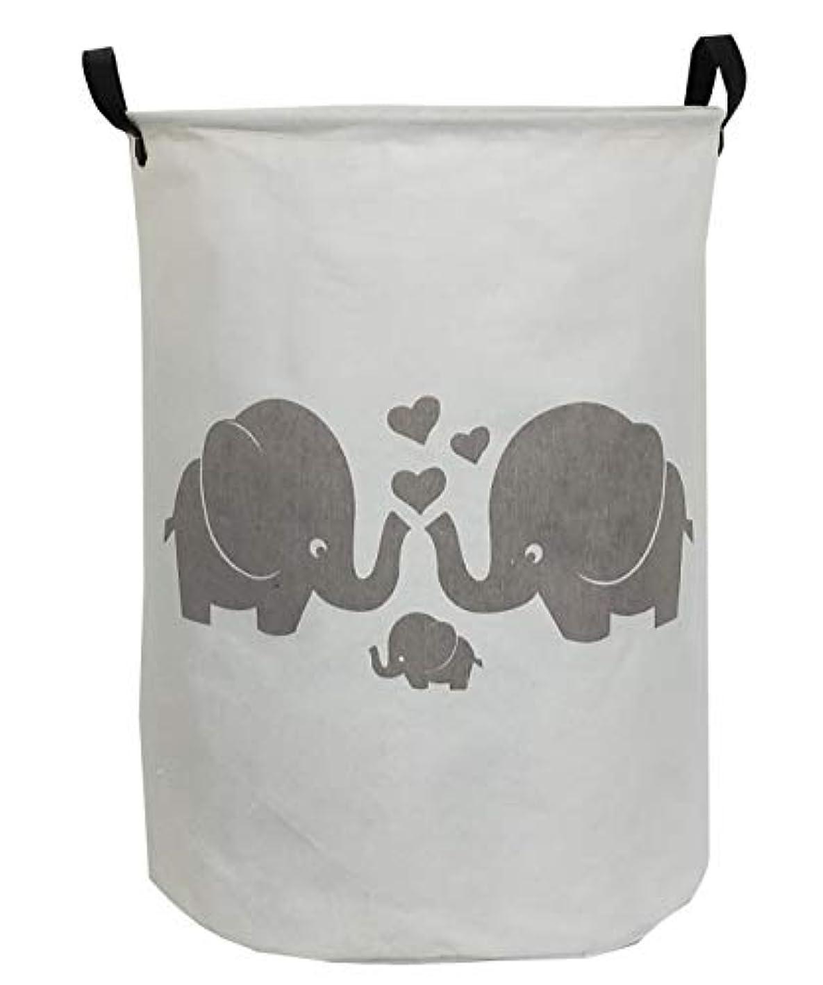 ESSME Laundry Hamper,Collapsible Canvas Waterproof Storage Bin for Kids, Nursery Hamper,Gift Baskets,Home Organizer (Love Elephant)