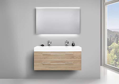Intarbad ~ Badmöbel Waschtisch Evermite Doppelwaschbecken, Unterschrank und LED Lichtspiegel Bramberg Fichte