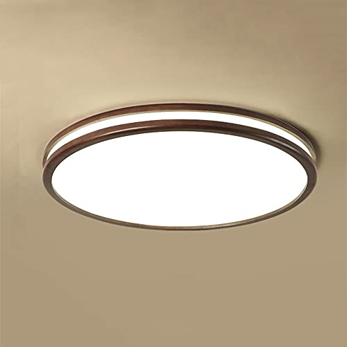 WFZRXFC Luz de Techo de Montaje Empotrado LED Redonda de Color Madera Oscura China Lámpara de Techo de diseño de emisión Lateral Iluminación de Techo de Textura de Madera Natural