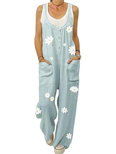 ORANDESIGN Damen-Latzhose aus Leinen, lockere Passform, Haremshose, Casual Vintage Jumpsuit, große Größe, Sommerlatzhose Gr. 46, B blau