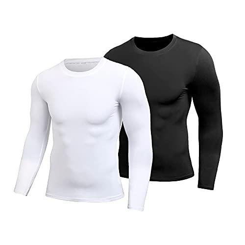 Kit 02 Camisas Térmicas Manga Longa Segunda Pele Proteção UV 50+ (Preto-Branco, P)