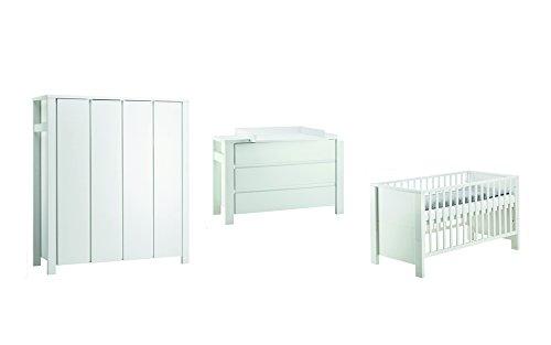 Schardt 11 649 52 02 Kinderzimmer Milano mit extra breiter Wickelkommode, Kombi-Kinderbett und 4-türigem Kleiderschrank, weiß