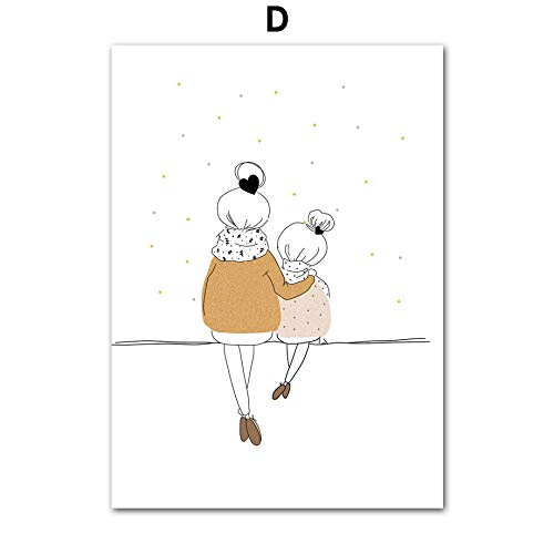 Cartoon woman girl boy minimalist nursery wall art canvas painting Nordic posters and prints wall pictures baby kids room decoration