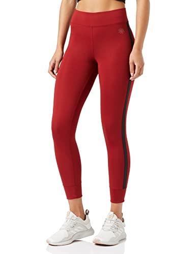 Marca Amazon - AURIQUE Mallas de Entrenamiento 7/8 con Banda Lateral Mujer, Rojo (Red Dhalia), 38, Label:S