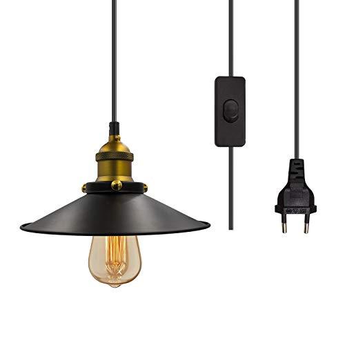 Pendelleuchte Vintage Deckenleuchte E27 Lampe Fassung Hängelampe Edison-Stil Black Metal Lampenschirm Hängende Kronleuchter mit 14.8 Fuß Kabel Ein/Aus-Schalter-EU Stecker Max.100W (Ohne Glühbirne)