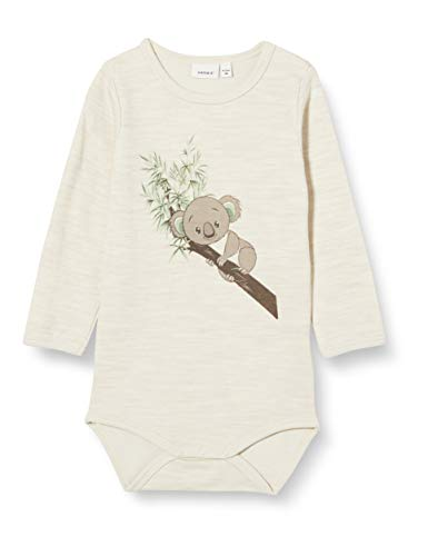 NAME IT Unisex Baby NBNWUP Wool/CO LS Body XX Strampler, Peyote Melange, 56
