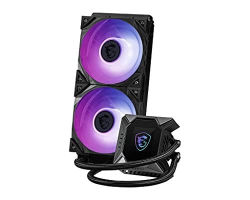 MSI MPG CORELIQUID K240 AIO CPU Dissipatore a Liquido - Pompa LCD con ventola 60mm, 2x 120mm ARGB TORX FAN 4.0, tubi anti-perdita, GI Cooling e supporto Mystic Light, socket AMD, Intel compatibile