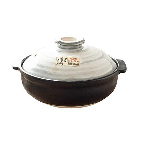 Xnxn Earthen Pot Donabe Dolsot Pot,japanse Handgemaakte Keramische Braadpan Met Deksel Steen Rijst Voorraadpot Hittebestendig Gezond Kookgerei Zwart 2.1Quart