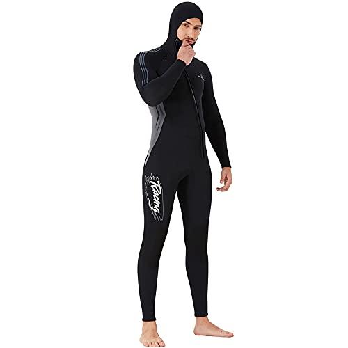 Trajes de neopreno para hombre, 3 mm de alta calidad, con cremallera frontal y capucha para traje de buceo para pesca submarina, snorkel, surf, piragüismo, buceo para adultos