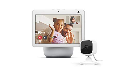 All-new Echo Show 10 (3rd Gen)   Glacier White with Blink Mini Indoor Smart Security Camera, 1080 HD with Motion Detection