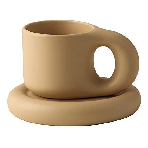 LHK Taza de café cerámica, Taza de Mango Gordo Hecho a Mano Creativa con Placa Oval, Tazas de época, para café, tés, Cacao, Jugo, 10 onzas, Color de té de Leche