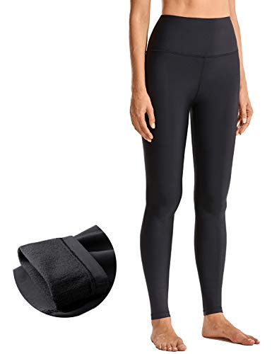 CRZ YOGA Women's Thermal Fleece Lined Yoga Leggings 28 Inches - Winter Warm Full Length Workout Pants High Waist Tights Black Small