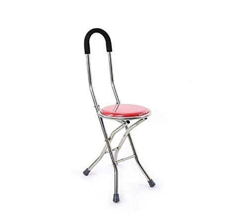 Bastón plegable con asiento, caña de ancianos muletas taburete Walker cuádruple taburete...