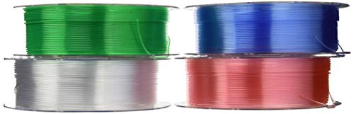 PrimaCreator EasyPrint 3D Drucker Filament - PETG - Value Pack - 1.75mm - 4x 500 g (Total 2 kg) - Clear, Rose, Light Blue, Green