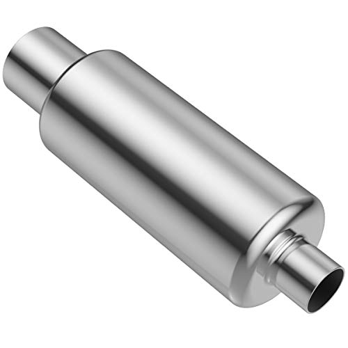 2.5' Inlet 4' Outlet Muffler, AUTOSAVER88 Universal Mirror Polished Stainless Steel High Performance Exhaust Resonator, 21.5' Overall Length