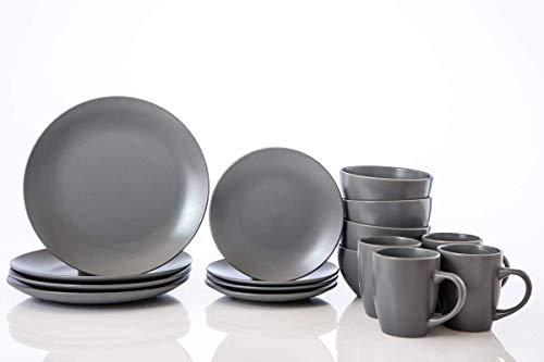 Geschirr-Set, 16-teilig, Küchenteller, Schüsseln, Becher, Service für 4 Personen, grau