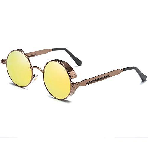 Kaper Go Gafas de sol de personalidad de moda con marco grande polarizado, material de metal, lentes doradas/marrón, marco marrón, lentes de color femenino, gafas de sol (color: oro)