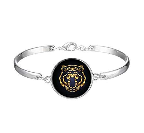 Elf House Abstract Gold Tiger on The Dark Background Illustration Bracelet,Artisitc Glass Bracelet,Innovative Bracelet Gift