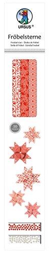 Ursus 34710000 - Fröbelsterne, 60 Streifen, sortiert in 2 verschiedenen Größen, rot