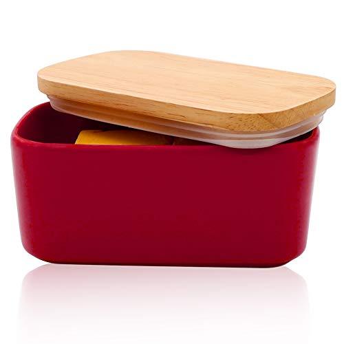Panda Grip Butterdose Porzellan, Keramik Butterdose für 250 g Butter Holzdeckel mit Silikon-Dichtlippe,Hochwertig Butterdose, Rot