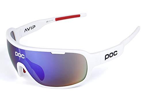 TFGY Sport-Sonnenbrille polarisiert, 5-Objektive Sport-Outdoor-Winddichte Brille Anti-Fog-Uv Ray-beständig, Mann und Frau Radfahren Mountainbike Golf Skifahren,A