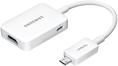 Samsung ET-H10FAUWESTA Micro USB to HDMI 1080P HDTV Adapter Cable for Samsung Galaxy S3/S4 and Note 2 - Retail Packaging - White
