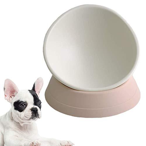 Umysky Dog Bowls Anti-Slip Dog Cat Dish Detachable Rubber Dog Bowl Pet Sterile Tilted Pet Feeder Slope Base,White