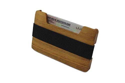 Kreditkartenetui und minimalistische Geldbörse aus Holz | Portemonnaie mit Geldklammer | Geldscheinklammer und Kartenetui | Unikat - Original von WOODBI® (Akazie ohne Logo)