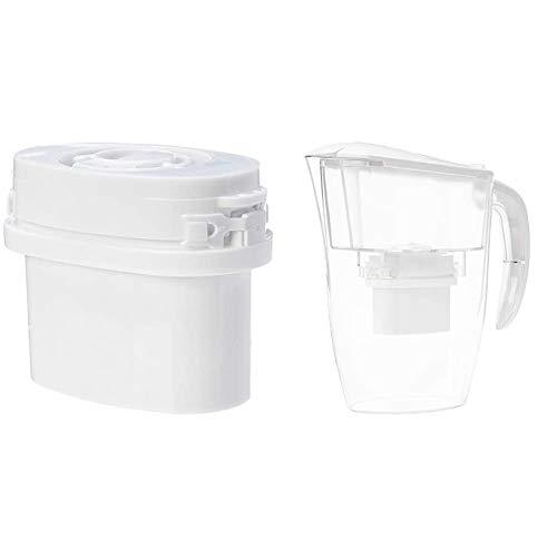 AmazonBasics - Caraffa filtrante per Acqua, 2,4 L + Cartucce filtranti, Confezione da 12